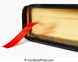 Bible with ribbon bookmark - Black Bible closed with red...