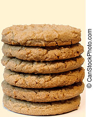 peanut butter cookies - stack of peanut butter cookies