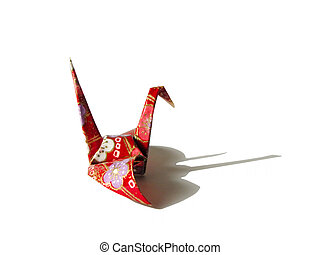 Origami and shadow - Origami bird and shadow over white...
