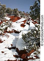 nevado, vermelho, pedras