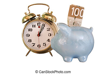 bank alarm clock - Blue ceramic pig on silver background...