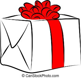 giftbox - boxed gift in simple line art