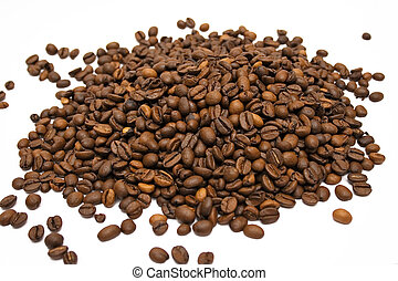 Coffee Beans Bunch - Top view on brown coffee beans isolated...