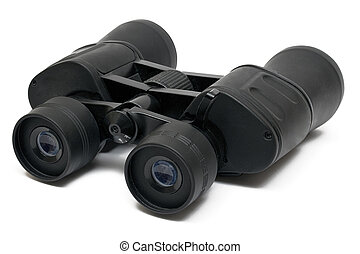 Binoculars Front - Black binoculars isolated on white. File...