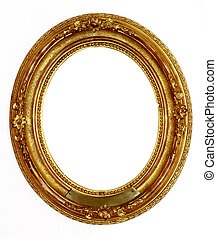 Old golden frame - Ornamented, very old, gold plated empty...