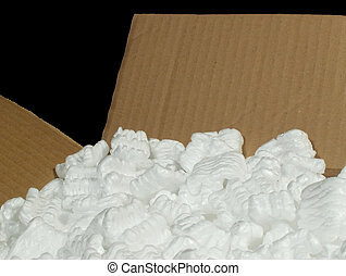 box with packing material - cardboard box with styrofoam...