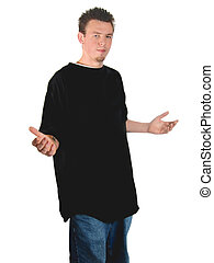 Young Man - Young man, arms extended, isolated on white...