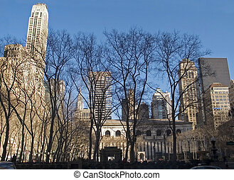 Bryant Park Trees - This is a wide angle shot of Bryant Park...