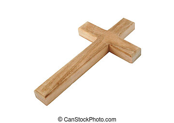 Wood Cross - Closeup of wooden cross Hand drawn clipping...