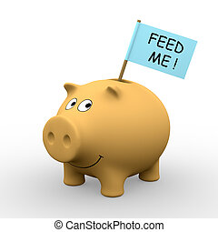 Feed me - Orange piggybank with Feed me written on a flag 3D...