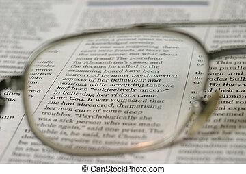 Vision - Printed article as seen through corrective lenses.