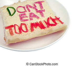 Dont eat too much sandwich-clipping path - Funny sandwich on...