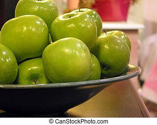 verde, manzanas, tazón