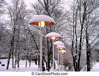 Lamps under a snow  - Lanterns under a Snow in the Park