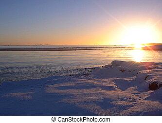 Winter sea sunset