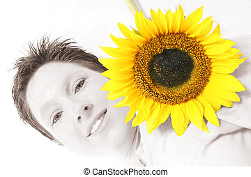 Face od a Sunflower - Close up of a woman\\\'s face and a...
