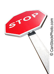 Isolated Stop Sign - Isolated Stop sign from below