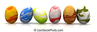 Easter Eggs - 3D rendered Illustration.