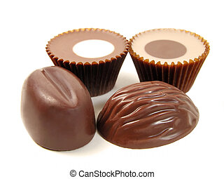 Chocolates isolated over white background