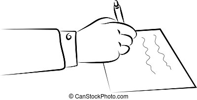 signing a document - a hand signing a document or writing a...