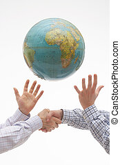 Together - Hands making a handshake and showing respect on...