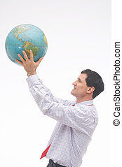watching - man watching the earth - Mann beobachtet die Erde