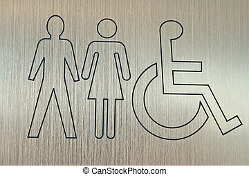 accessible wc sign - metal sign showing accessible washrooms...