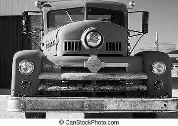 Old Fire Truck - black and white image of an old fire truck