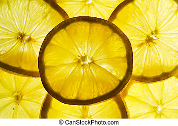 Lemon slices - Back-lit translucent lemon slices