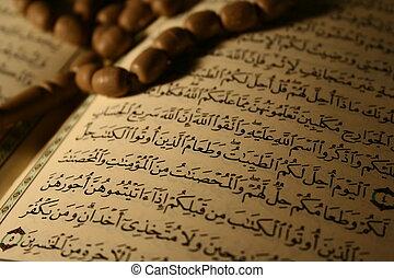 santo, Corán, y, rosario