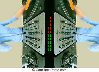 pattern of funky female dj - pattern made from image of...