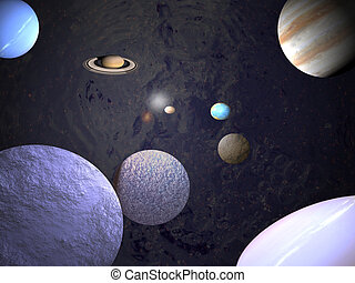Universe - science backgrounds - Planets in orbit
