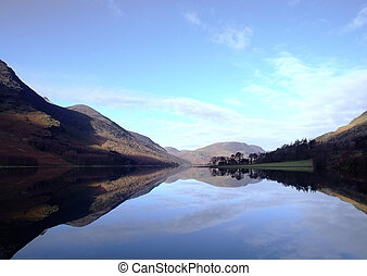 Lake Buttermere reflection,in Lake district,cumbria