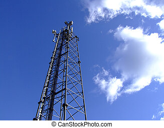 Mobile phone mast - Mobile, cell telephone mast on blue sky