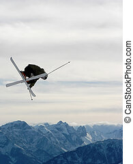 Freestyle skiing - A freestyle skier flying through the air