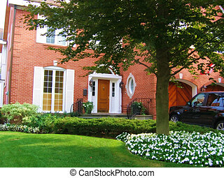 House, Red Brick - Beautiful red brick home with pretty...