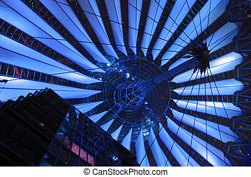 Hi-tech blue - Blue lighting on contemporary roofing...