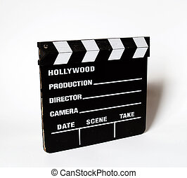 Clapboard over white
