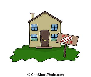 House Sold - Illustrated House with Sold sign