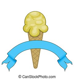 Vanilla Icecream - Illustrated Vanilla ice-cream with blue...