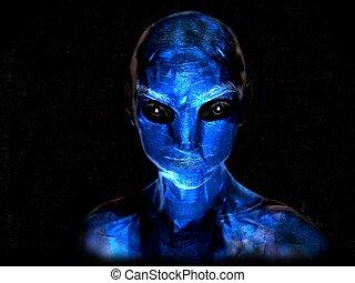 Blue alien - a blue alien