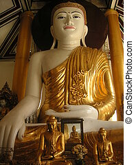 Buddha statue in Shwedagon Pagoda in Yangon, Maynmar