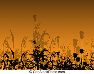 Abstract Flower Bed with Their Shadows on the Background -...