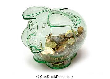 TransparentPiggybank - Happy pig with Euro coins inside.