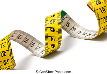 Measuring Tape Spira - Winding tape measure against white.