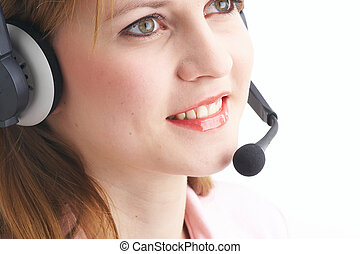 Headset  - woman talking with a headset