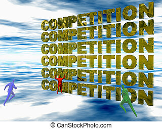 Competition, the run. - Businesspeople competing....