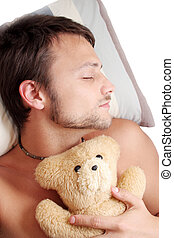 Bear Man Sleep - Man asleep with teddy bear