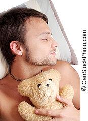 Bear Man Sleep - Man asleep with teddy bear