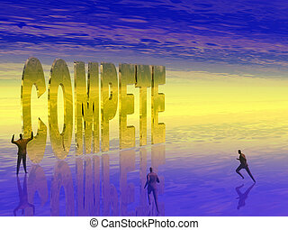 Compete, the run. - Businesspeople competing. Career,...
